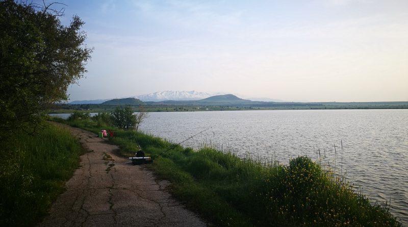 3. Озеро Бенталь. Мором Голан. Израиль. Вид на гору Хермон. Апрель 2019