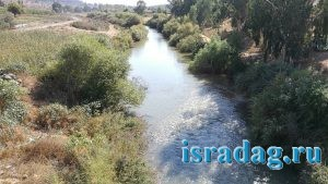 Фотография реки Иордан вниз по течению с моста Пкак
