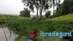 Место для рыбалки на канале от реки Иордан